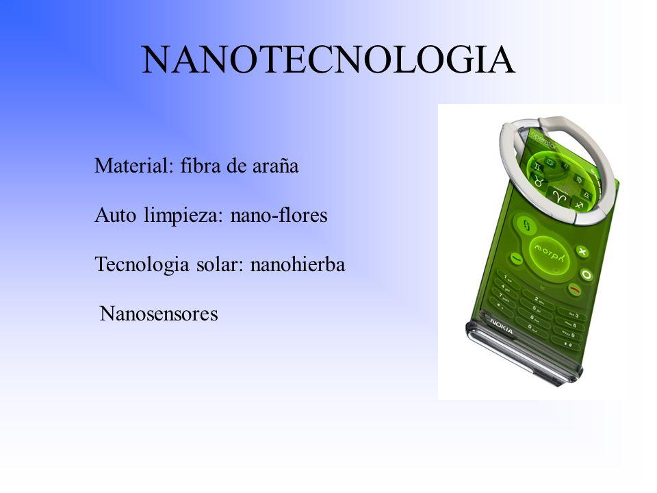 NANOTECNOLOGIA Material: fibra de araña Auto limpieza: nano-flores