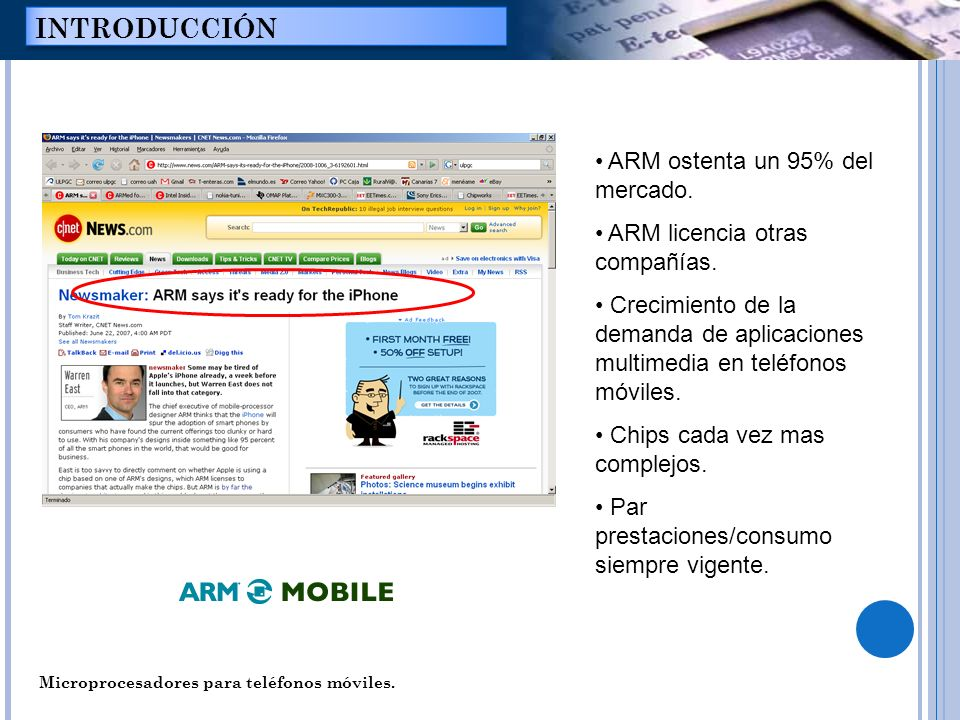 INTRODUCCIÓN ARM ostenta un 95% del mercado.