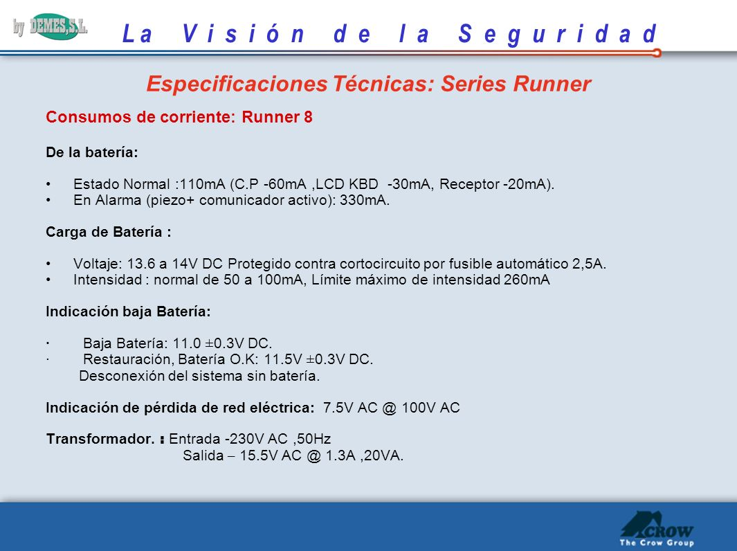 Especificaciones Técnicas: Series Runner