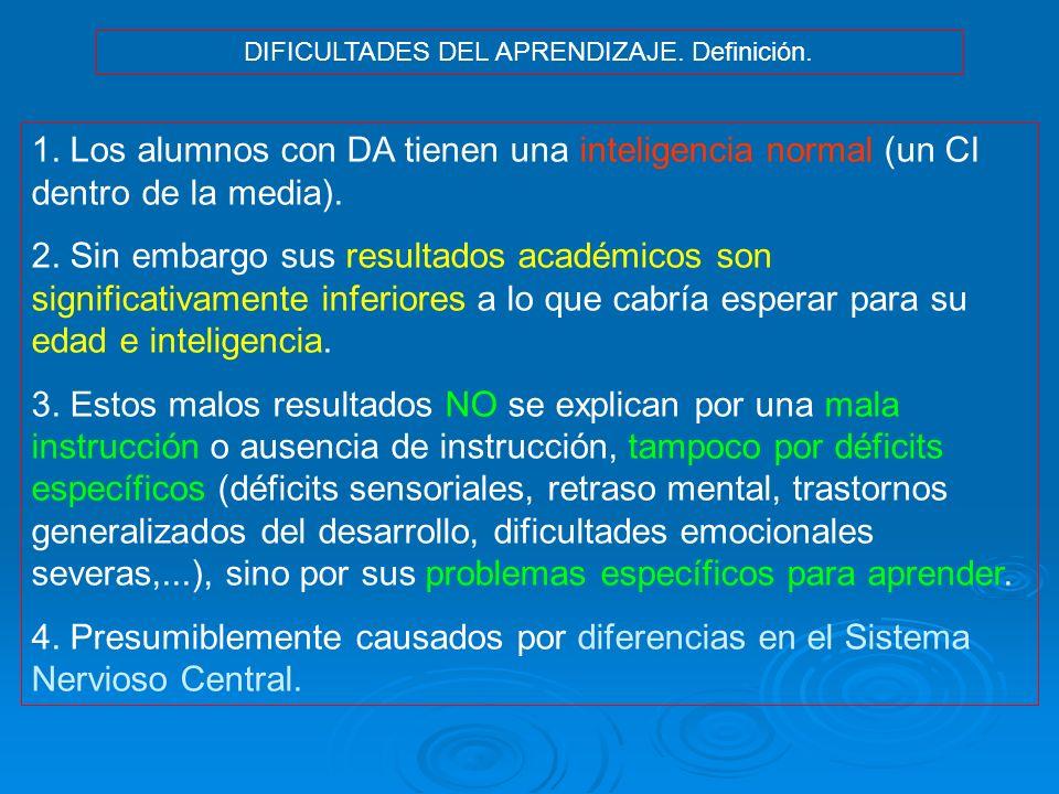 DIFICULTADES DEL APRENDIZAJE. Definición.
