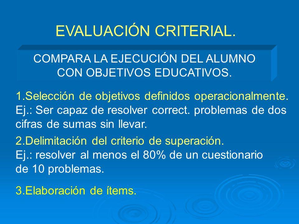 COMPARA LA EJECUCIÓN DEL ALUMNO CON OBJETIVOS EDUCATIVOS.