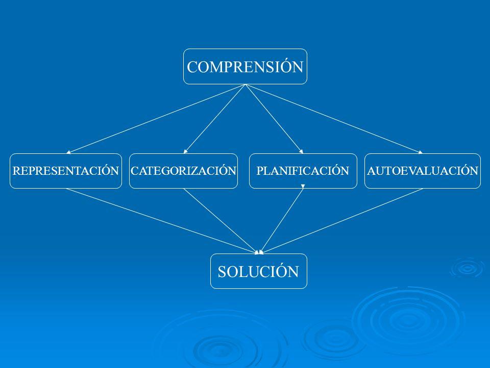 COMPRENSIÓN SOLUCIÓN REPRESENTACIÓN CATEGORIZACIÓN PLANIFICACIÓN