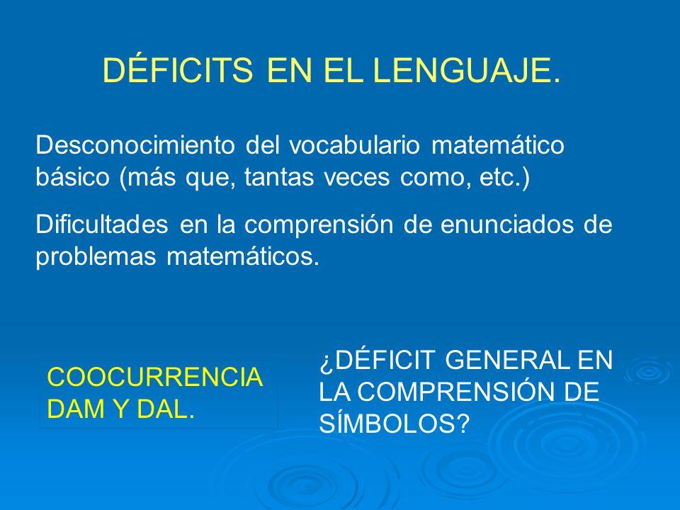 DÉFICITS EN EL LENGUAJE.