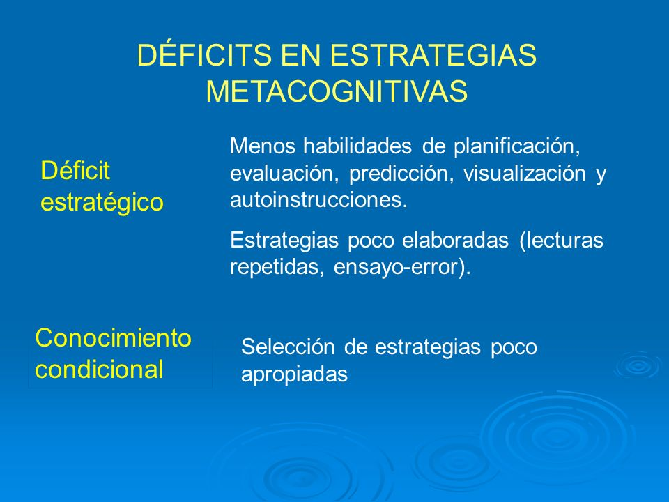 DÉFICITS EN ESTRATEGIAS METACOGNITIVAS
