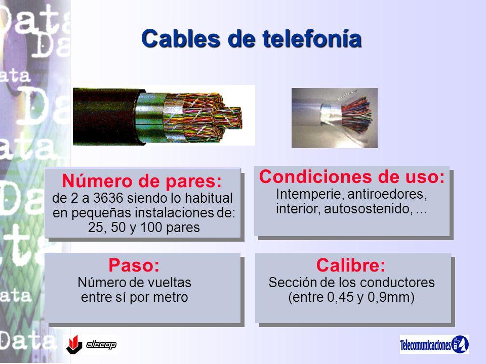 Cables de telefonía Condiciones de uso: Número de pares: Paso: