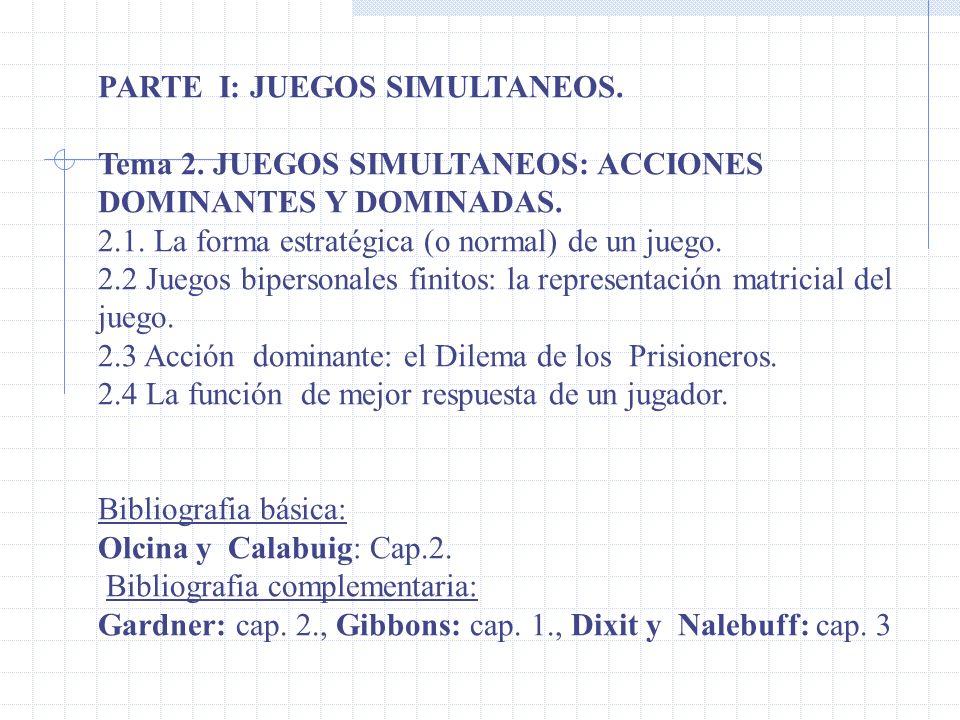 PARTE I: JUEGOS SIMULTANEOS.