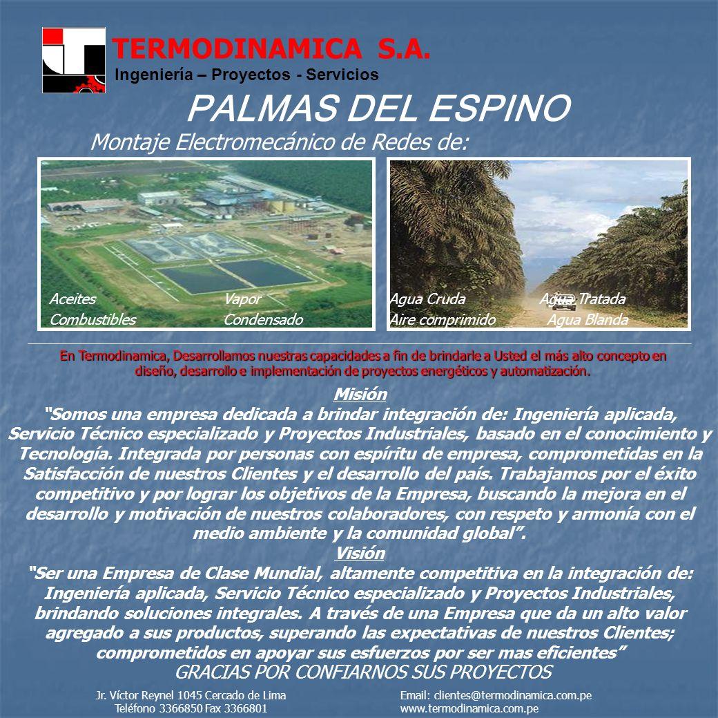 PALMAS DEL ESPINO Montaje Electromecánico de Redes de: