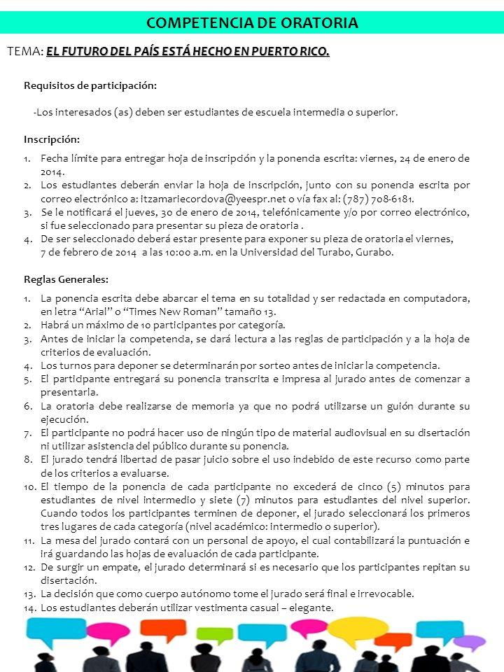 COMPETENCIA DE ORATORIA