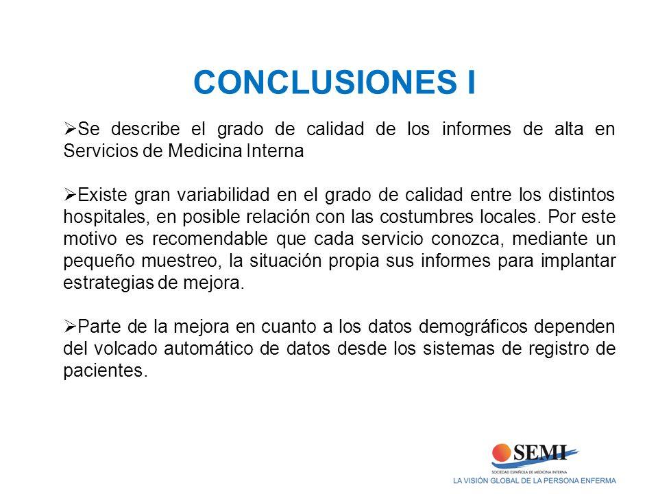 Se describe el grado de calidad de los informes de alta en Servicios de Medicina Interna