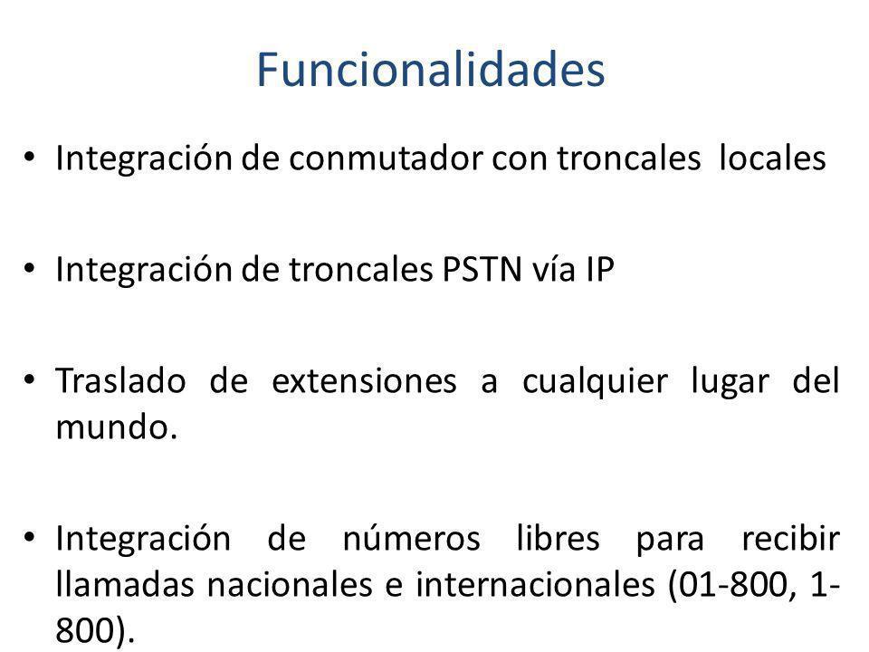 Funcionalidades Integración de conmutador con troncales locales