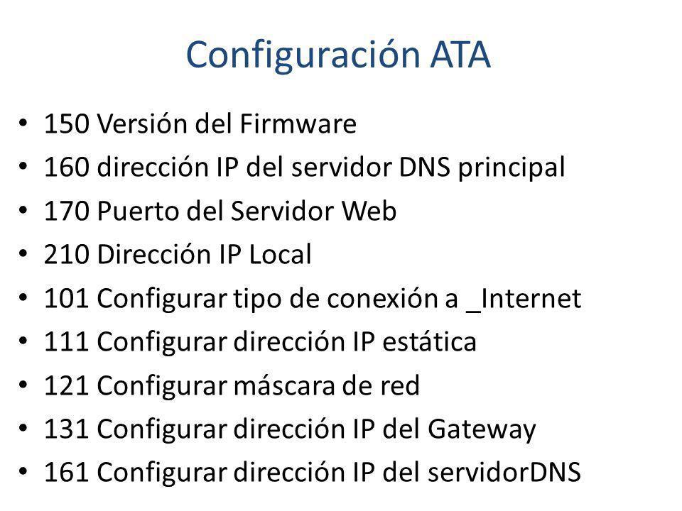 Configuración ATA 150 Versión del Firmware