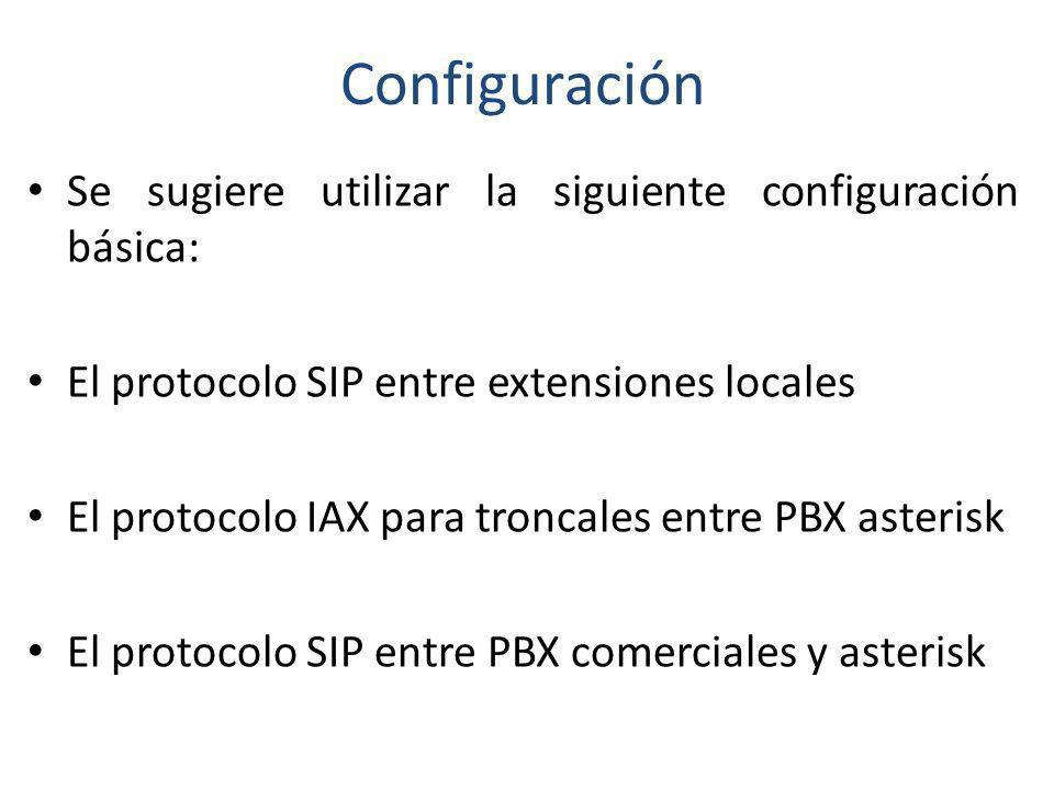Configuración Se sugiere utilizar la siguiente configuración básica: