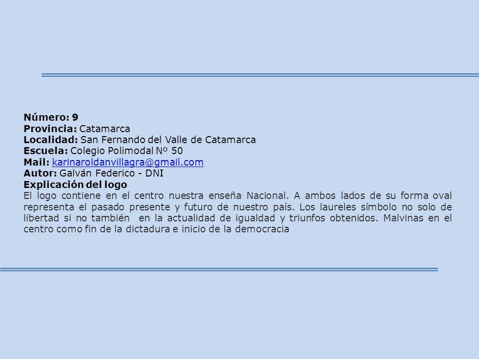 Número: 9 Provincia: Catamarca. Localidad: San Fernando del Valle de Catamarca. Escuela: Colegio Polimodal Nº 50.