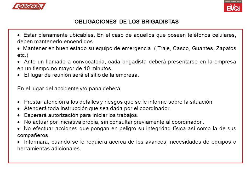 OBLIGACIONES DE LOS BRIGADISTAS