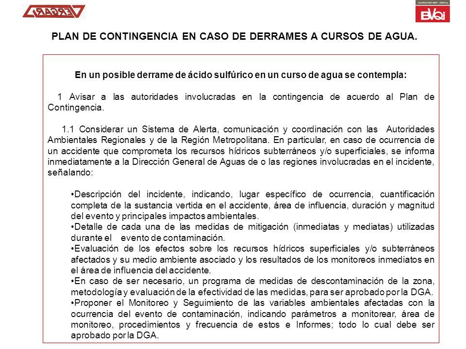 PLAN DE CONTINGENCIA EN CASO DE DERRAMES A CURSOS DE AGUA.