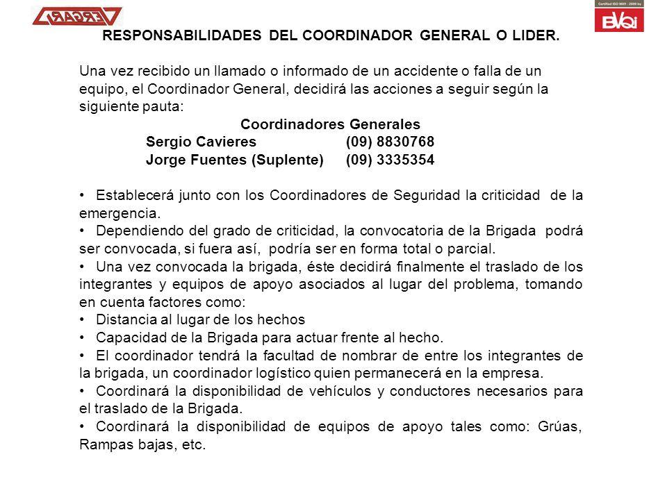RESPONSABILIDADES DEL COORDINADOR GENERAL O LIDER.