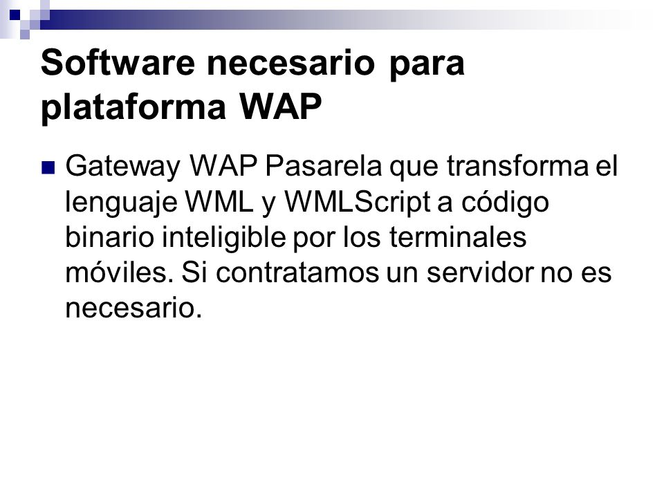 Software necesario para plataforma WAP