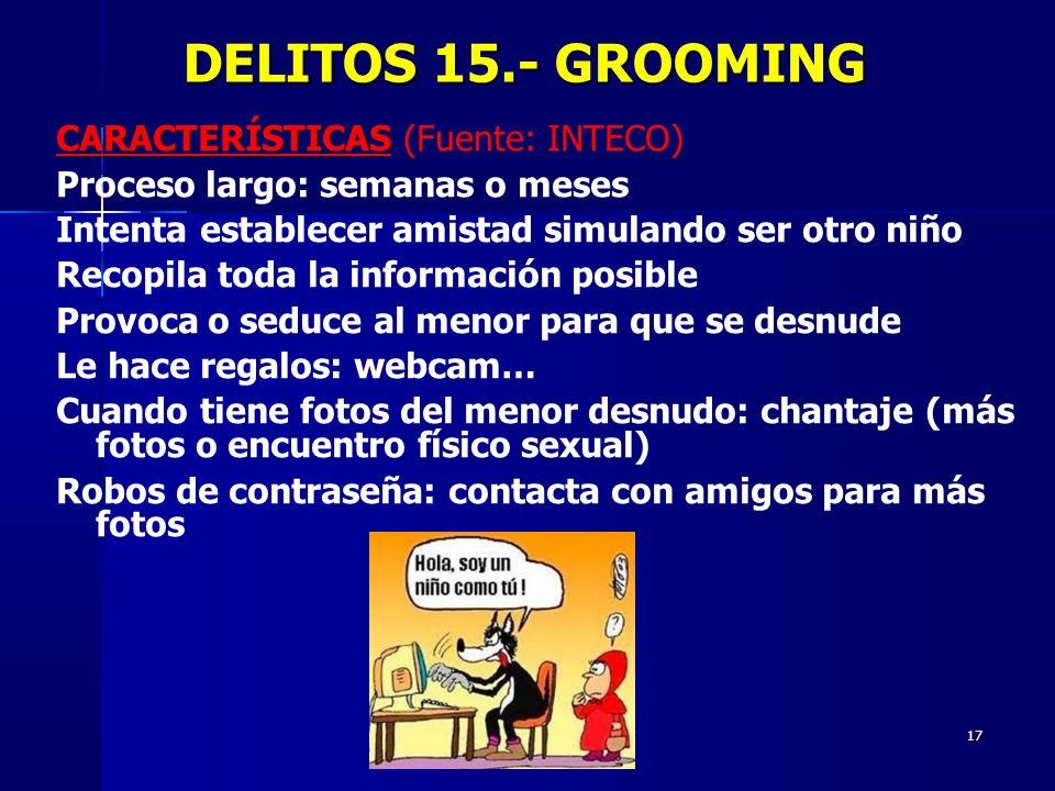 DELITOS 15.- GROOMING CARACTERÍSTICAS (Fuente: INTECO)