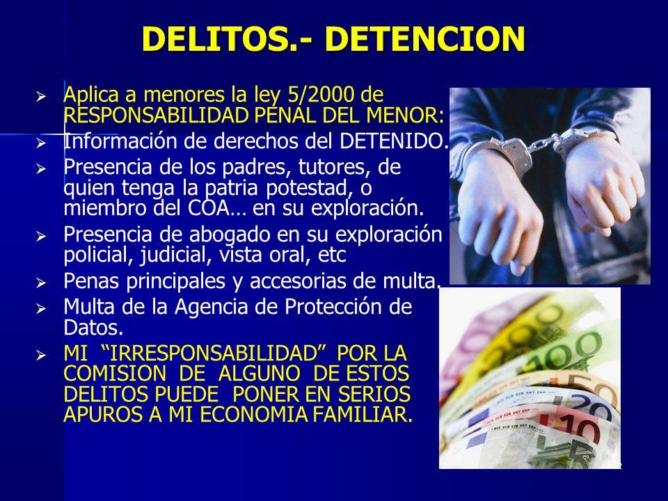DELITOS.- DETENCION Aplica a menores la ley 5/2000 de RESPONSABILIDAD PENAL DEL MENOR: Información de derechos del DETENIDO.