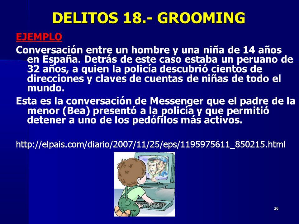 DELITOS 18.- GROOMING EJEMPLO