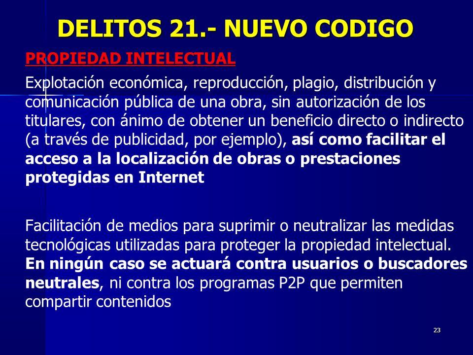 DELITOS 21.- NUEVO CODIGO PROPIEDAD INTELECTUAL
