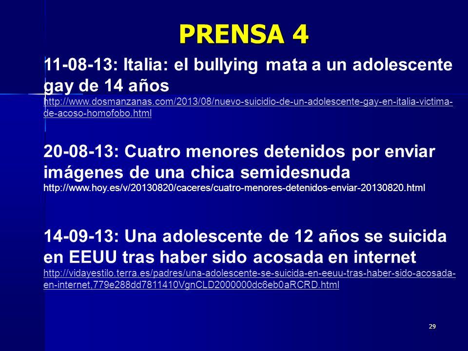 PRENSA 4 11-08-13: Italia: el bullying mata a un adolescente gay de 14 años.
