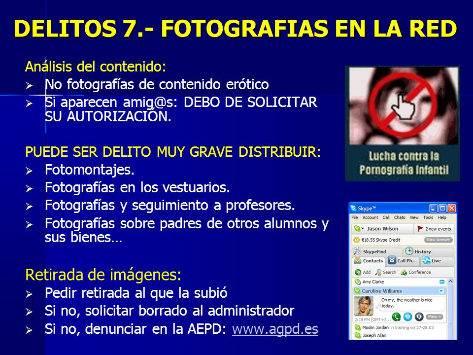 DELITOS 7.- FOTOGRAFIAS EN LA RED
