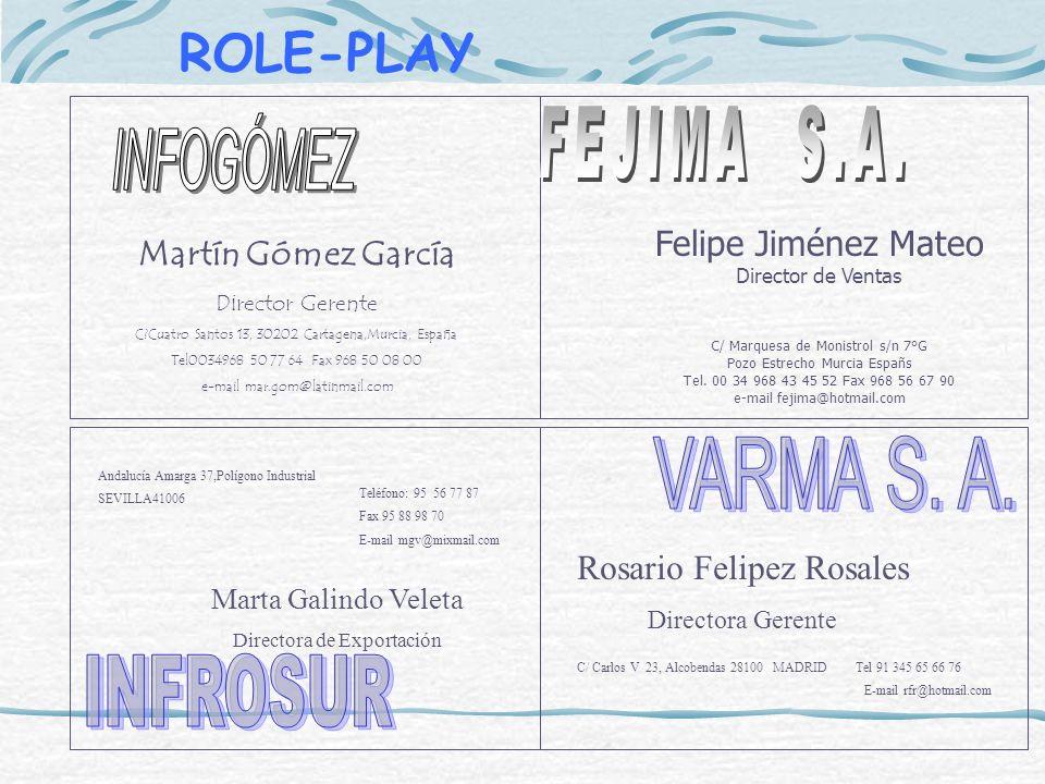 ROLE-PLAY FEJIMA S.A. INFOGÓMEZ VARMA S. A. INFROSUR