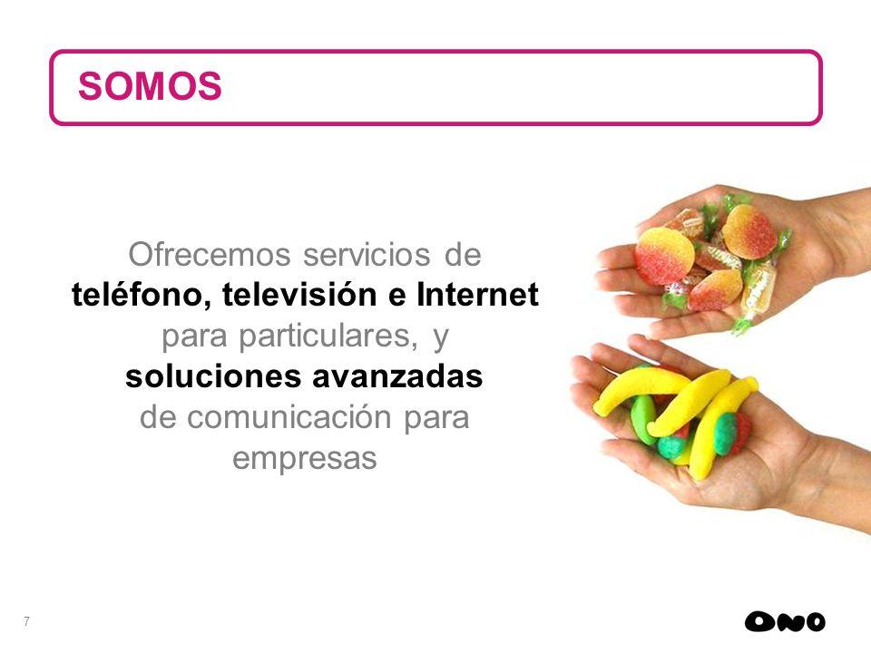 SOMOS Ofrecemos servicios de teléfono, televisión e Internet para particulares, y soluciones avanzadas de comunicación para empresas.