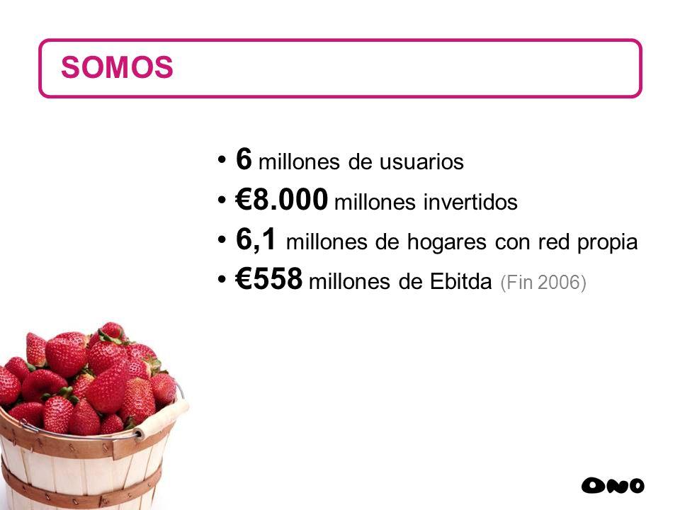 SOMOS 6 millones de usuarios. €8.000 millones invertidos. 6,1 millones de hogares con red propia.