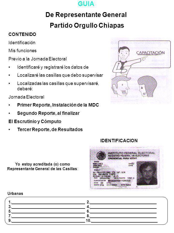 De Representante General Partido Orgullo Chiapas