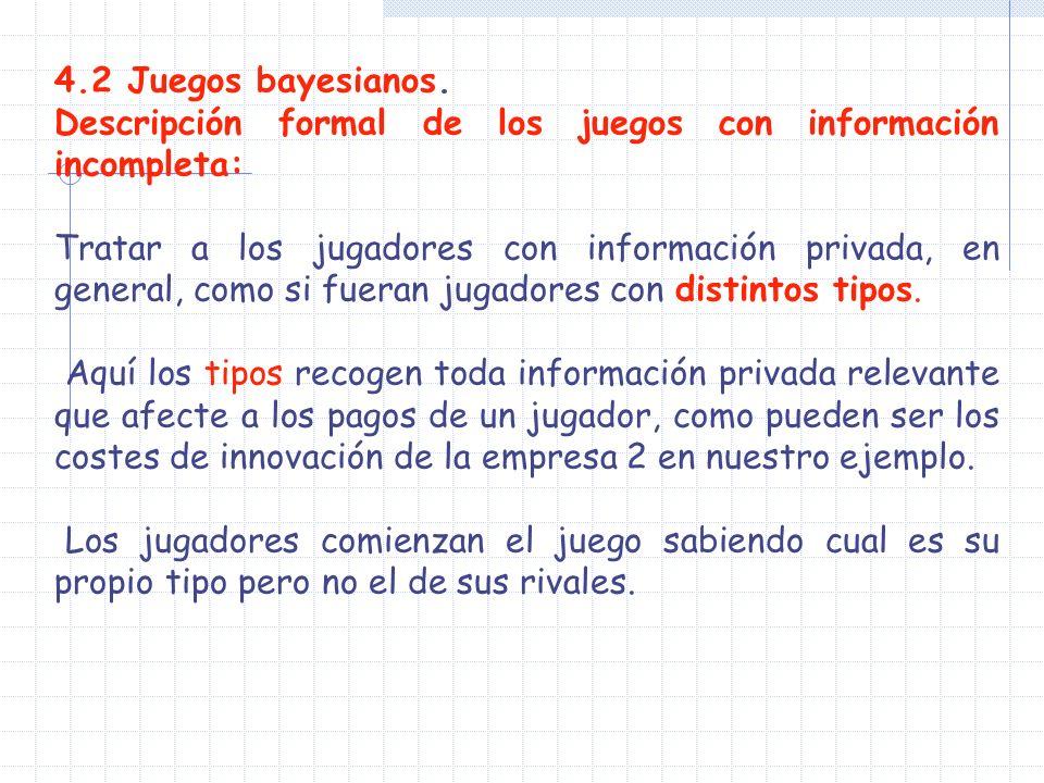 4.2 Juegos bayesianos. Descripción formal de los juegos con información incompleta: