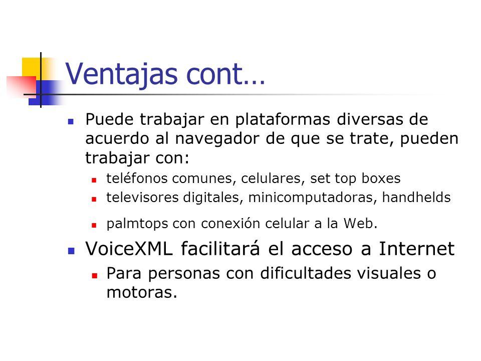 Ventajas cont… VoiceXML facilitará el acceso a Internet