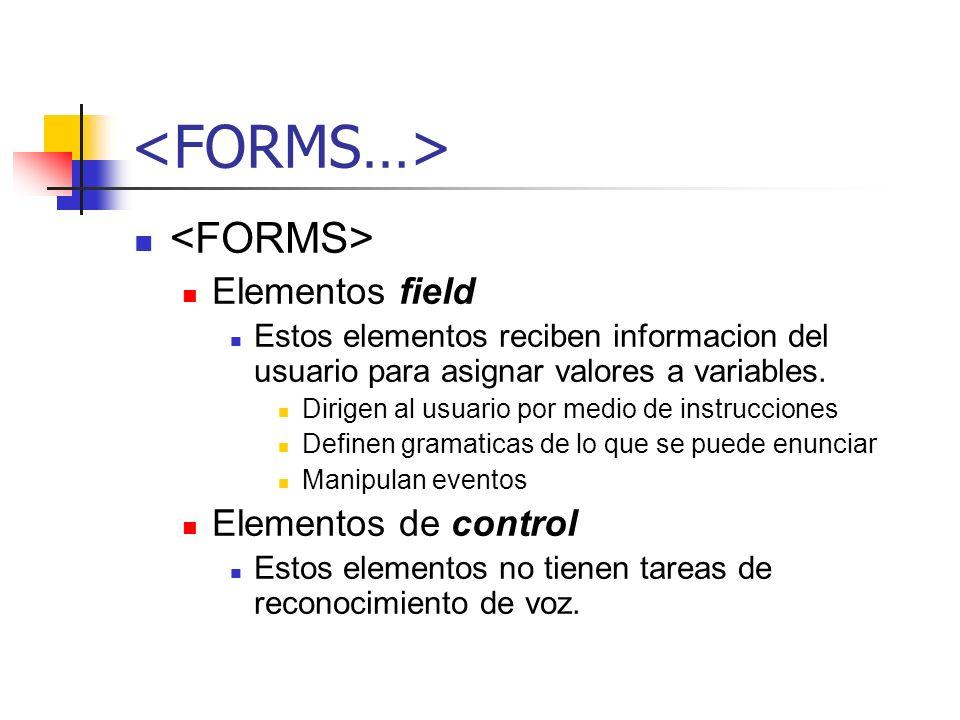 <FORMS…> <FORMS> Elementos field Elementos de control