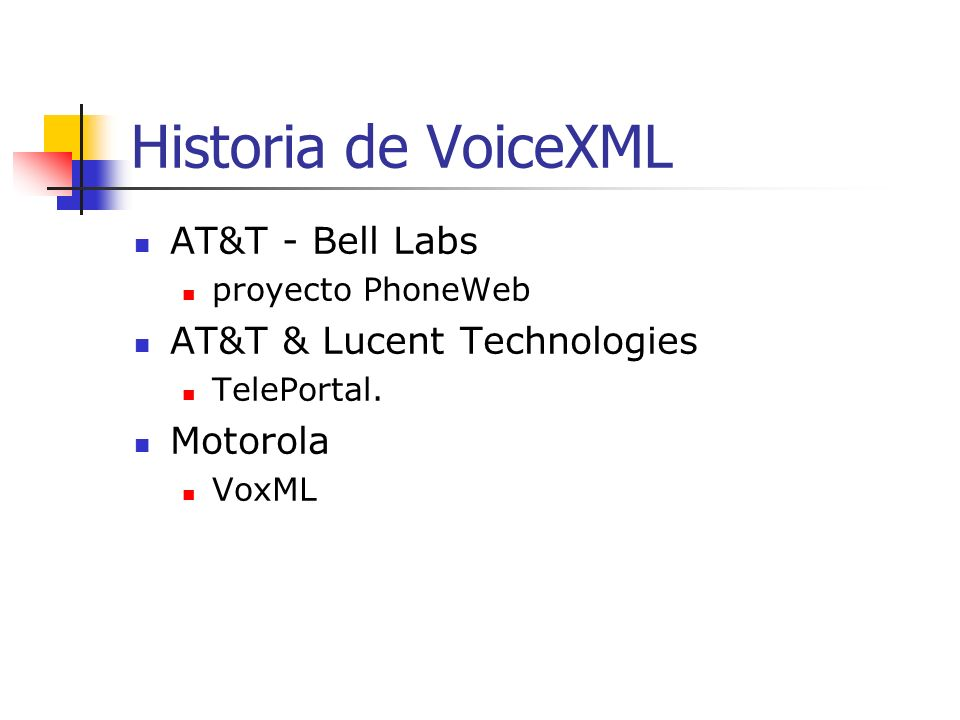 Historia de VoiceXML AT&T - Bell Labs AT&T & Lucent Technologies