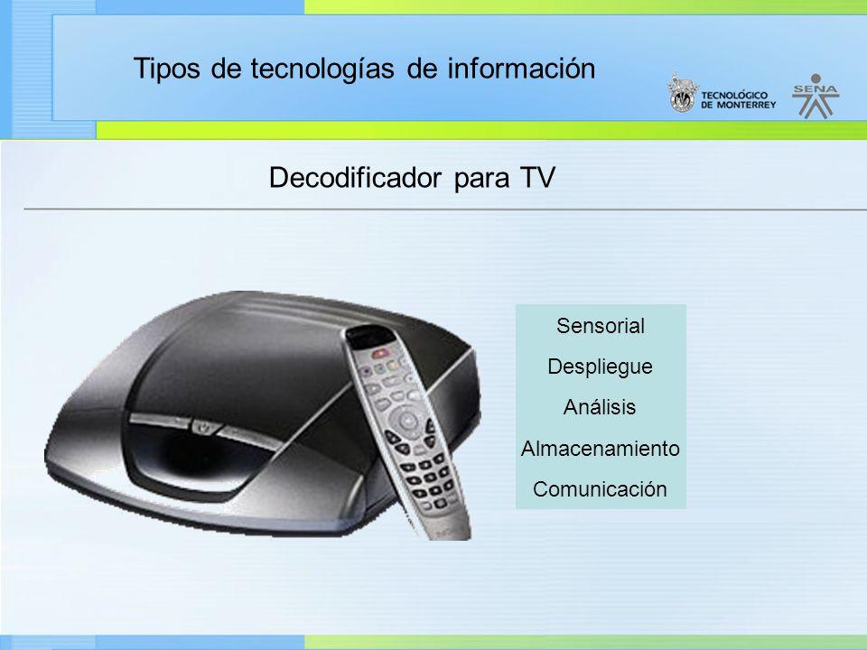 Decodificador para TV Sensorial Despliegue Análisis Almacenamiento