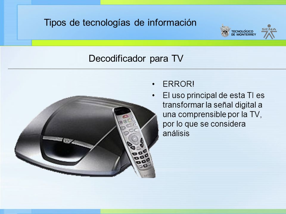 Decodificador para TV ERROR!