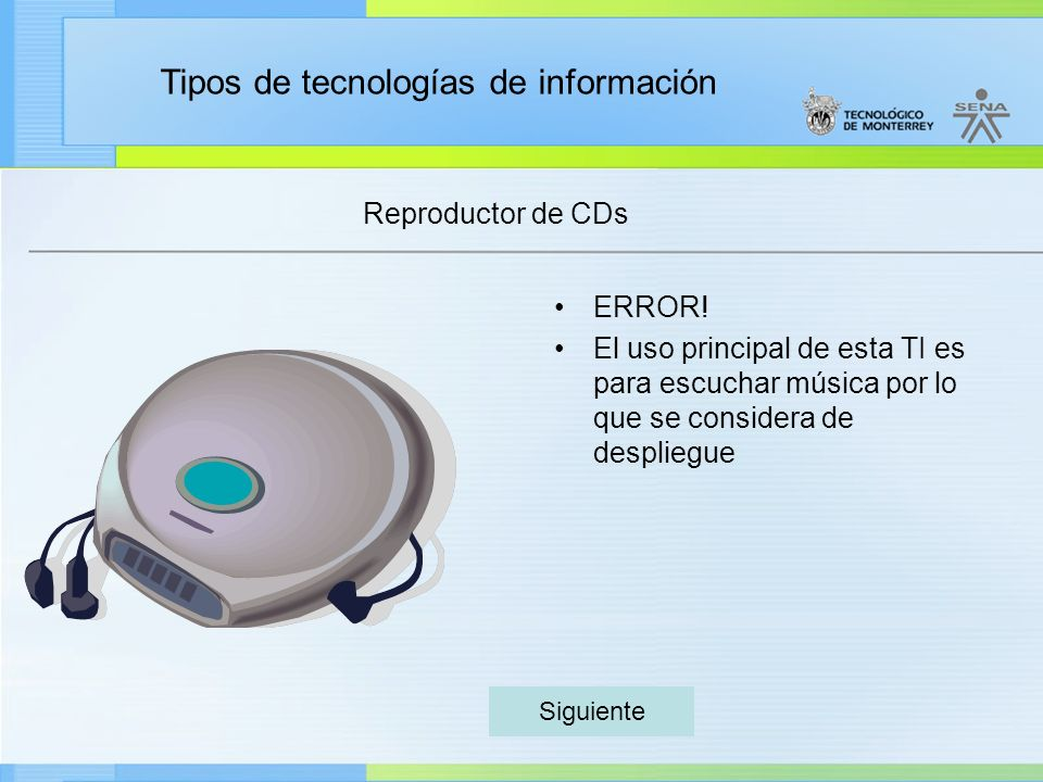 Reproductor de CDs ERROR!