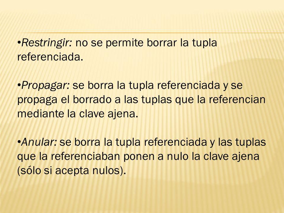 Restringir: no se permite borrar la tupla referenciada.