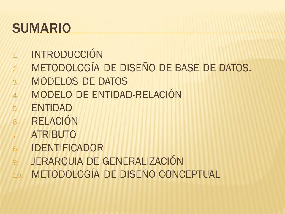 SUMARIO INTRODUCCIÓN METODOLOGÍA DE DISEÑO DE BASE DE DATOS.