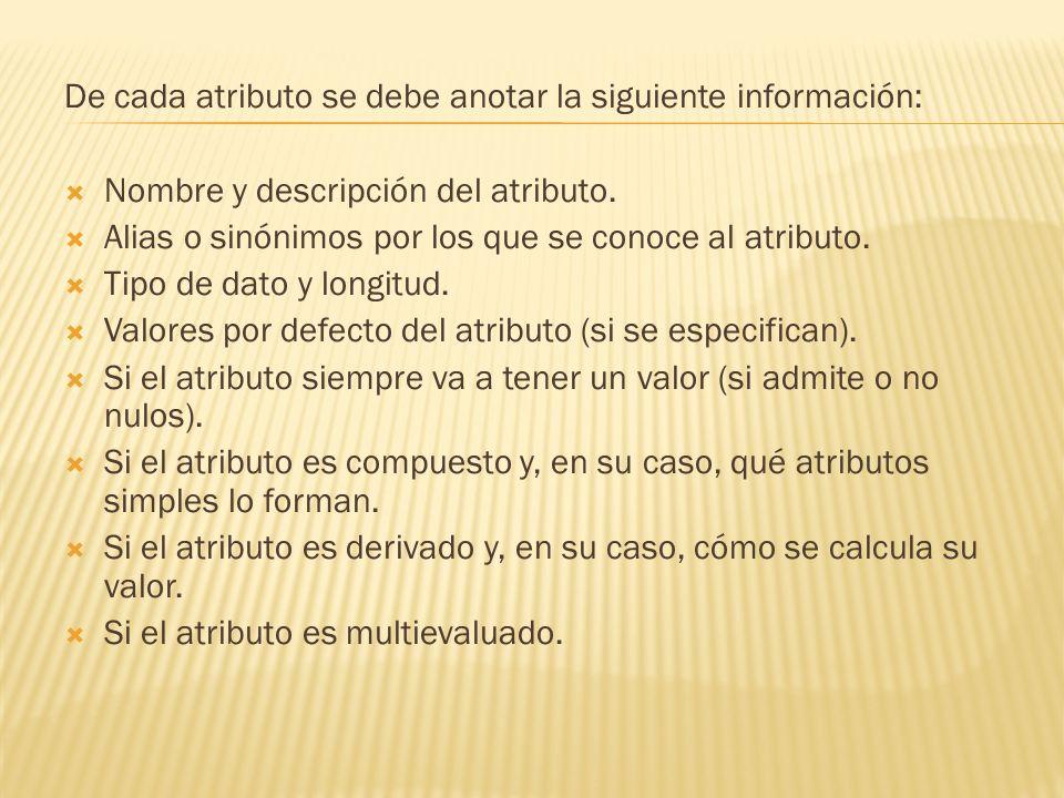 De cada atributo se debe anotar la siguiente información: