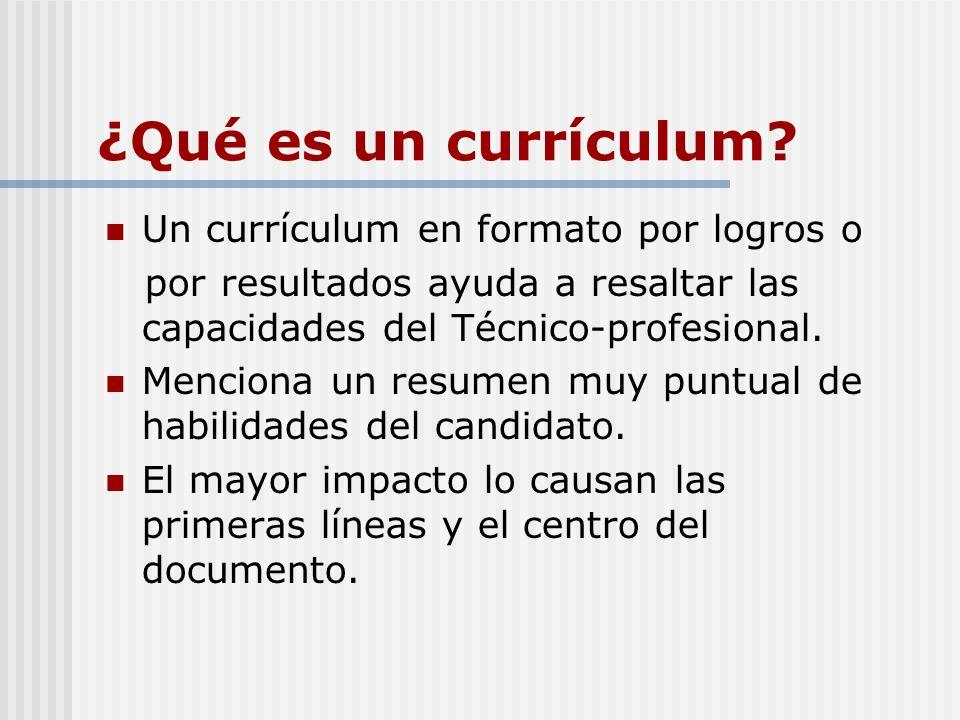 ¿Qué es un currículum Un currículum en formato por logros o