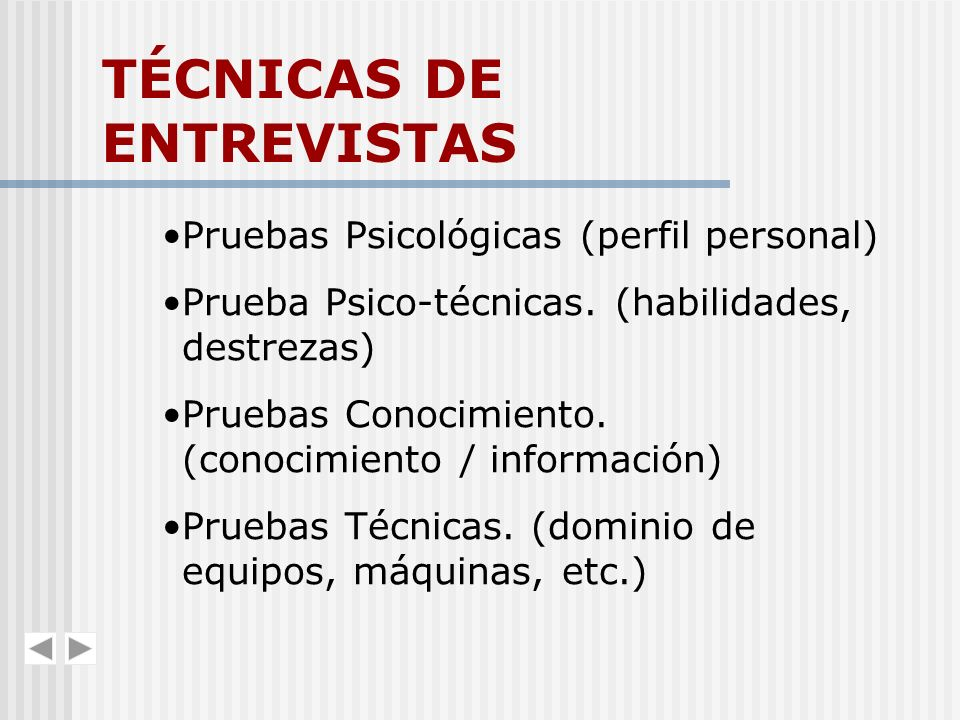 TÉCNICAS DE ENTREVISTAS