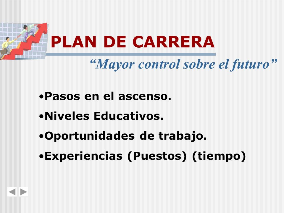 PLAN DE CARRERA Mayor control sobre el futuro Pasos en el ascenso.
