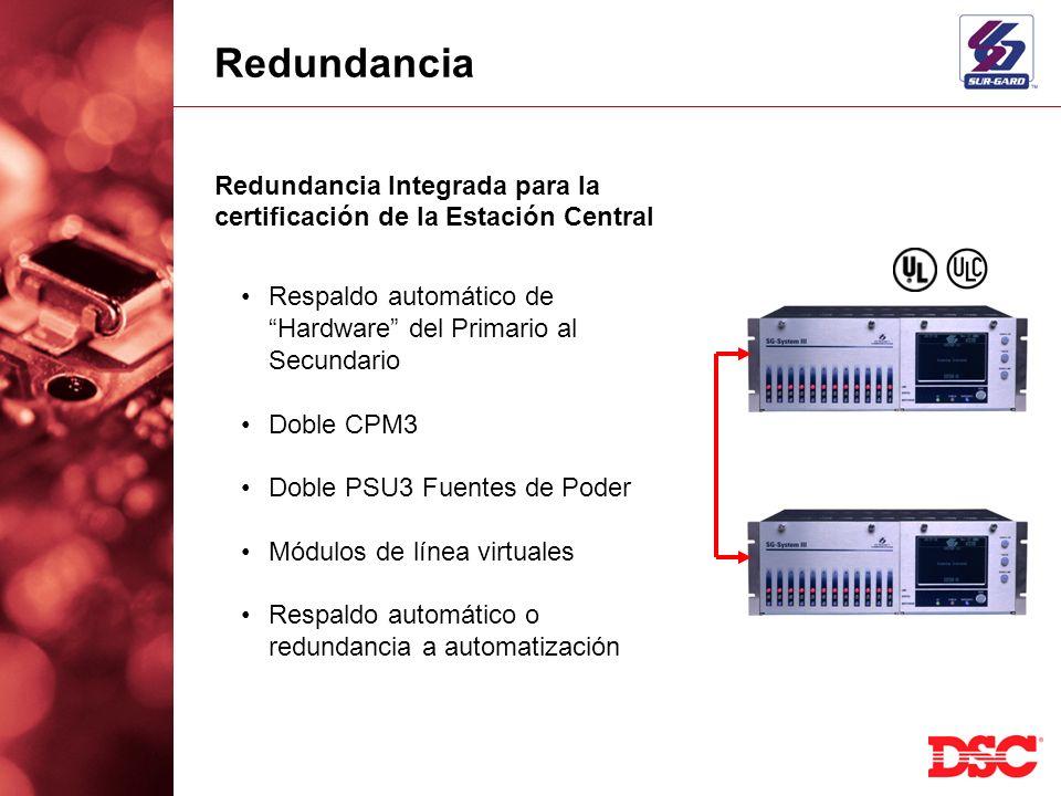 Redundancia Redundancia Integrada para la certificación de la Estación Central. Respaldo automático de Hardware del Primario al Secundario.