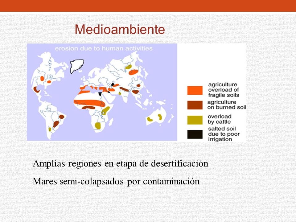 Medioambiente Amplias regiones en etapa de desertificación