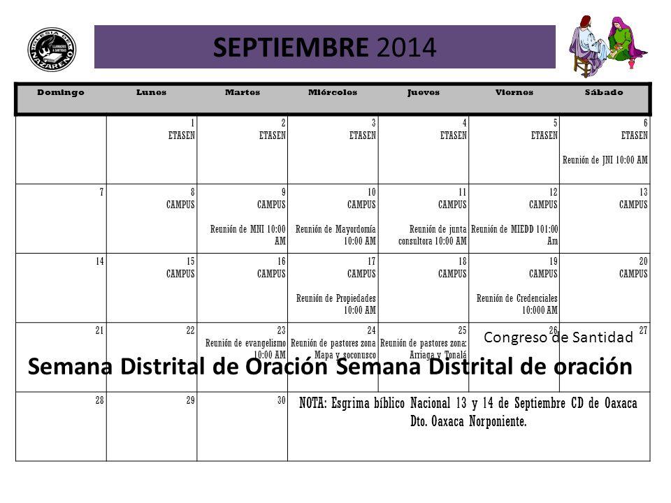 SEPTIEMBRE 2014 Domingo. Lunes. Martes. Miércoles. Jueves. Viernes. Sábado. 1. ETASEN. 2. 3.