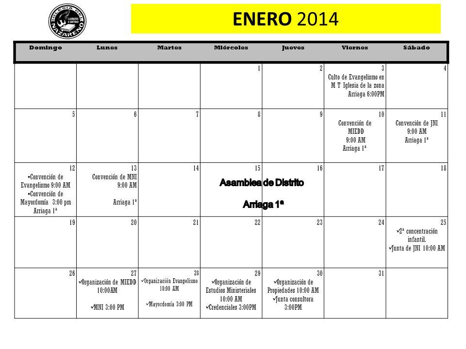 ENERO 2014 Asamblea de Distrito Arriaga 1ª 1 2 3
