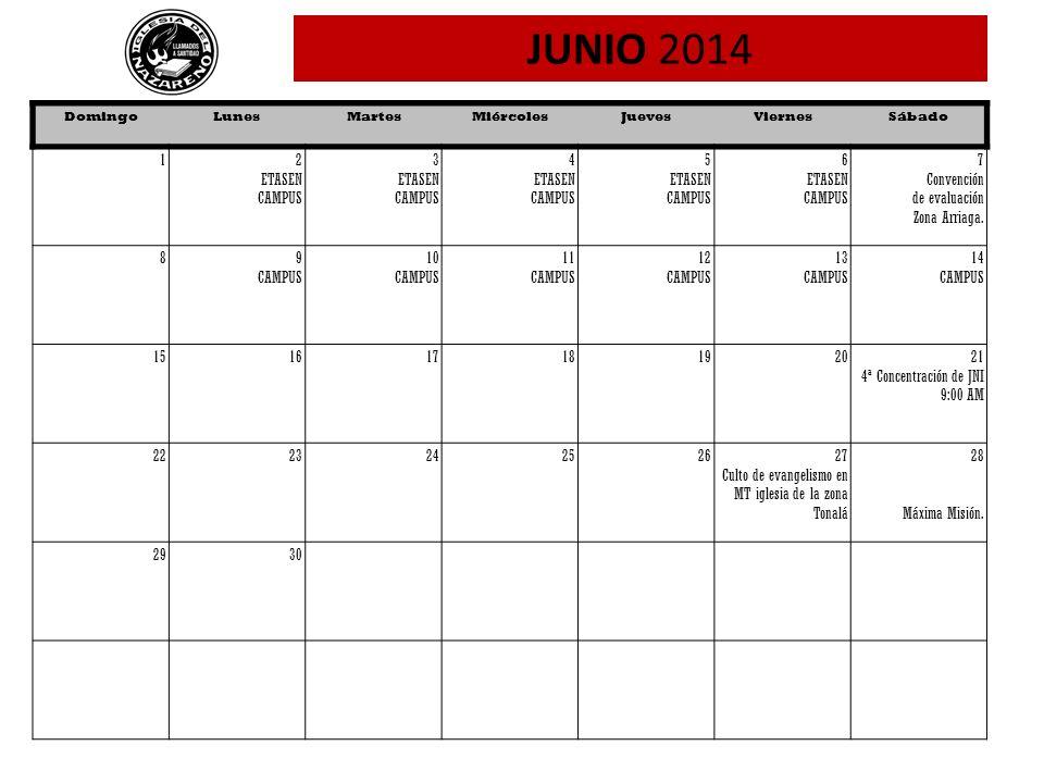 JUNIO 2014 1 2 ETASEN CAMPUS 3 4 5 6 7 Convención de evaluación