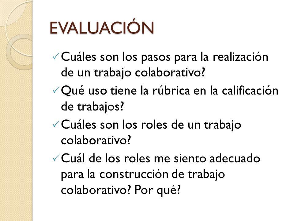 EVALUACIÓN Cuáles son los pasos para la realización de un trabajo colaborativo Qué uso tiene la rúbrica en la calificación de trabajos